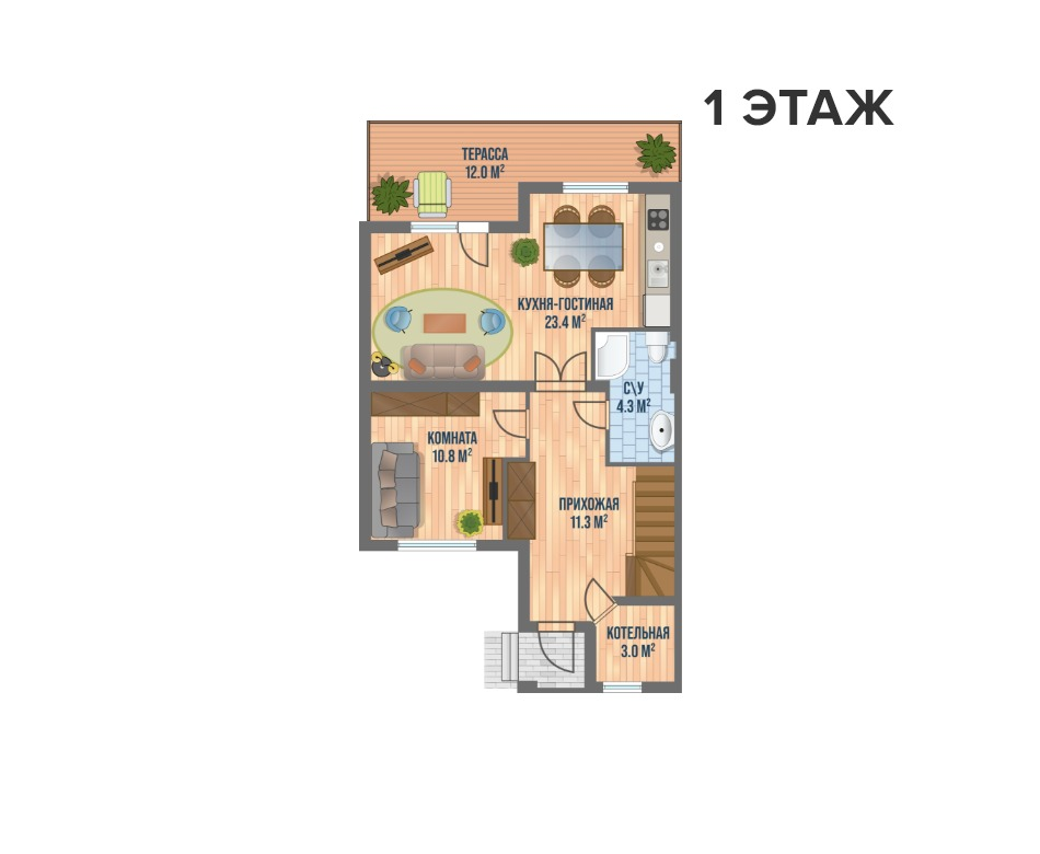 Секция - дуплекс Велюр 3 этажа - схемы | КП Варежки 3