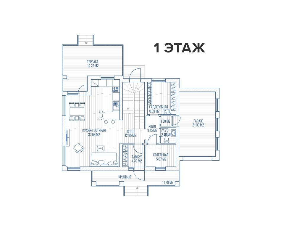 Секция - коттедж софт - Таб планировки | КП Варежки 3